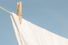 Sheet on a clothesline