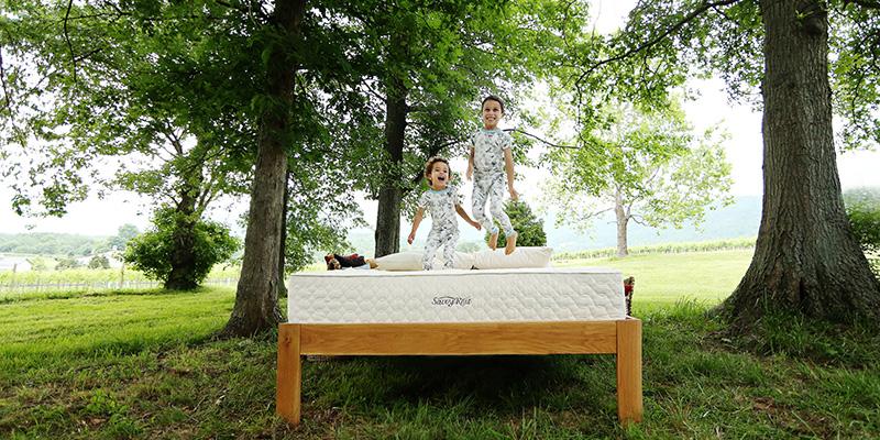 Kids jumping on mattress