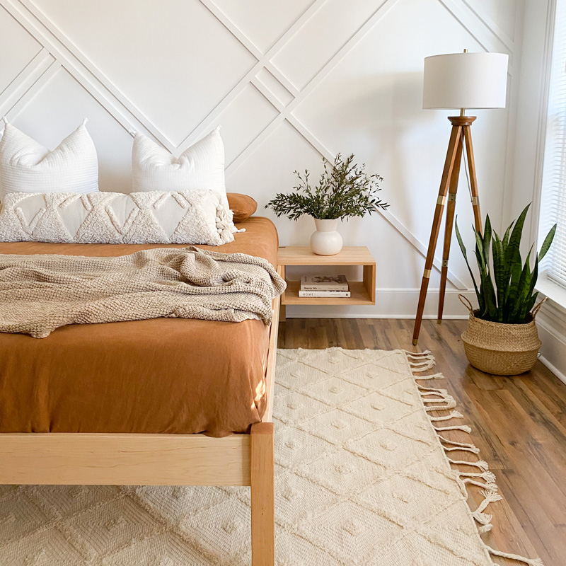 natural platform bed floating side table