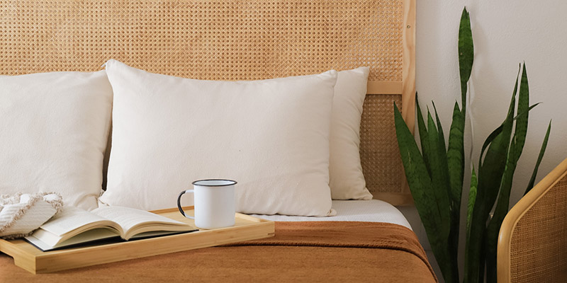 Cozy bed with organic pillows.