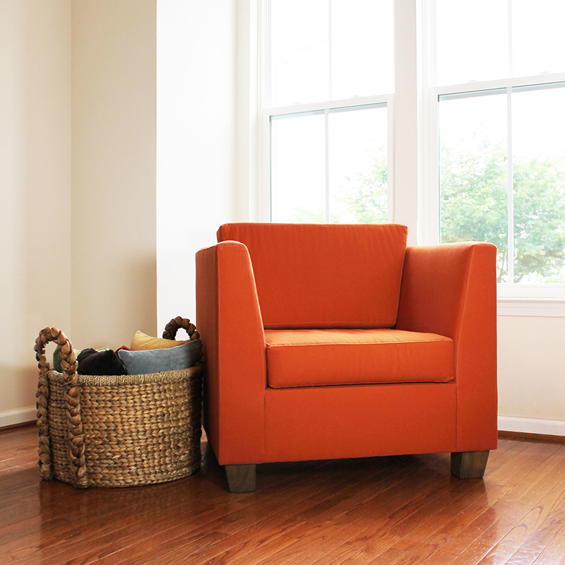 Our organic armchair is customizable.