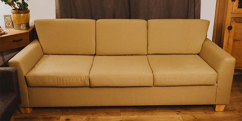 Savvy Rest organic sofa in boho living room.