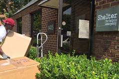 delivering Savvy Rest organic pillows to the Shelter for Help in Emergency in Charlottesville