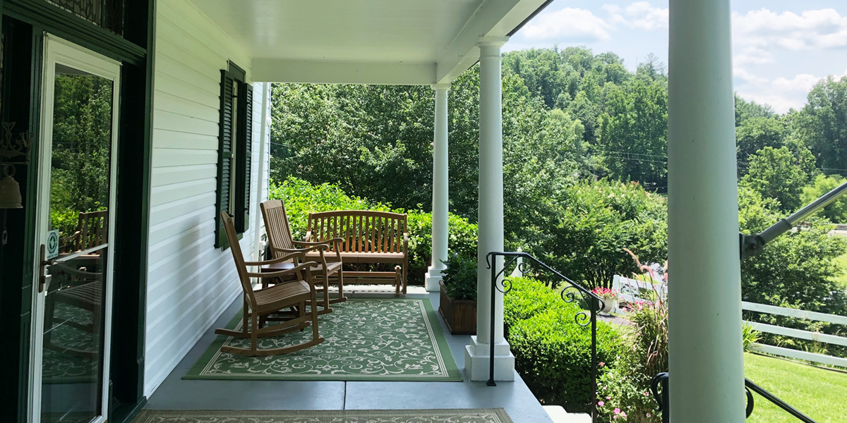 the front porch of the Nellysford Country Inn in Nellysford, VA