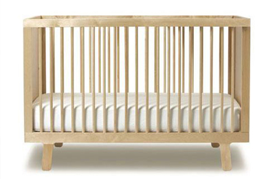 natural hardwood crib with zero VOCs