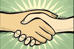 Shaking hands cartoon