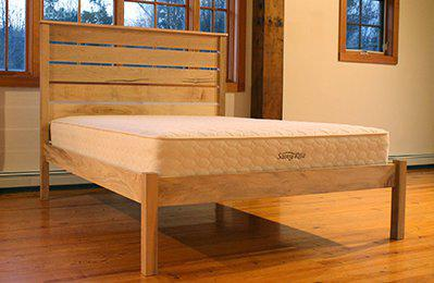 natural platform bed with headboard