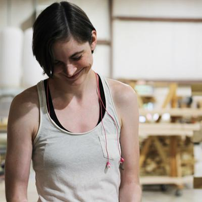 Leah Larsen in the Savvy Rest woodshop
