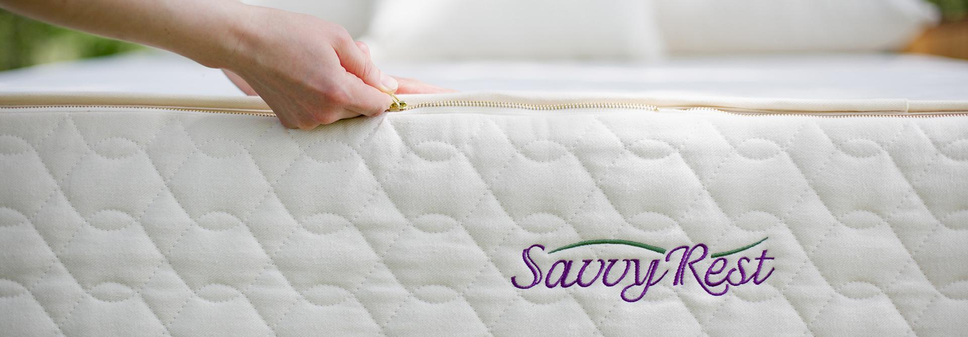Savvy Rest latex mattress zipped up