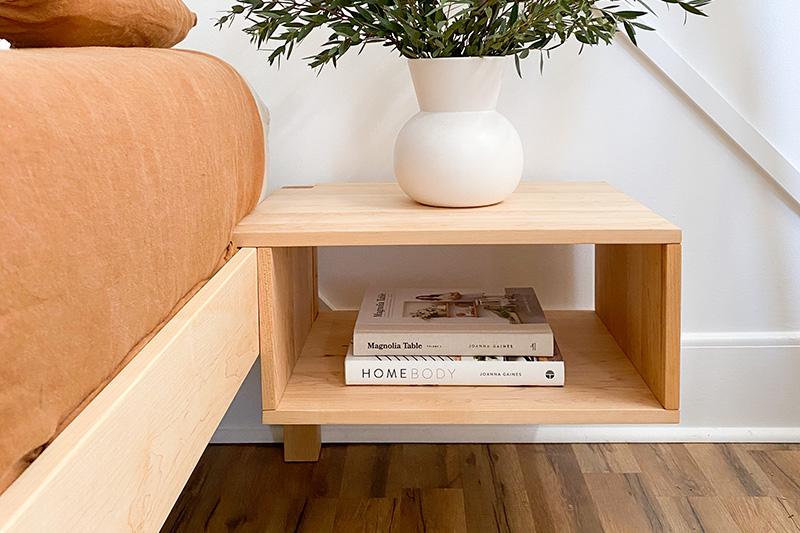 floating side table for platform bed