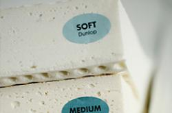 Soft, medium, and firm natural latex