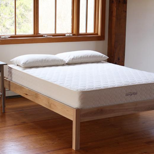 The Afton natural platform bed with the Serenity latex organic mattress