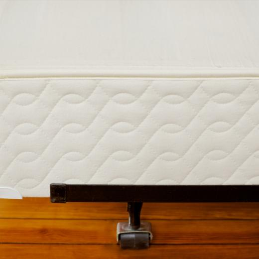 Organic Mattress foundation on a bed frame