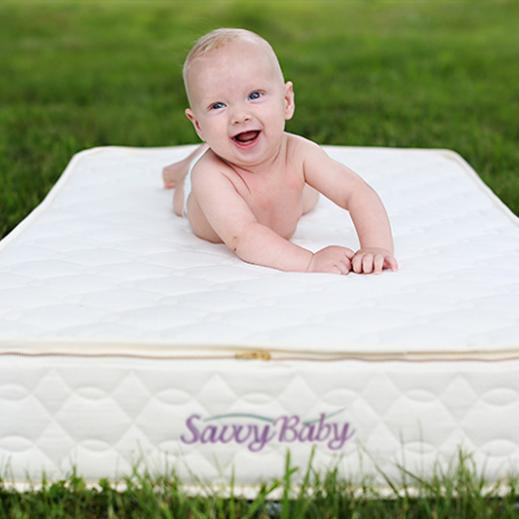 Our Savvy Baby, Eli on organic crib mattress