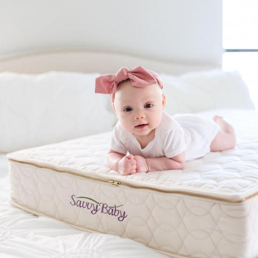 The Savvy Baby Talalay crib mattress is supportive and breathable.