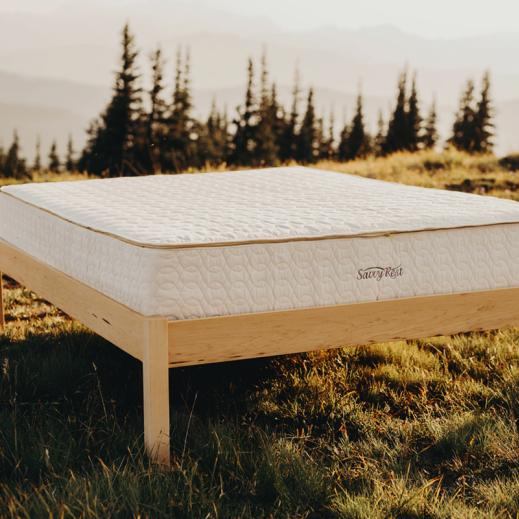 The Afton natural platform bed in linseed oil with the Serenity latex organic mattress