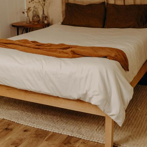 Organic Cotton Duvet Cover in White.