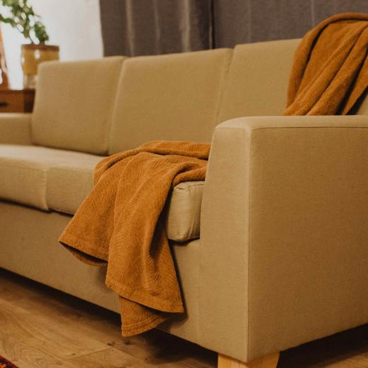 Pictured is the Verona organic sofa in the color Khaki of our hemp/cotton blend.