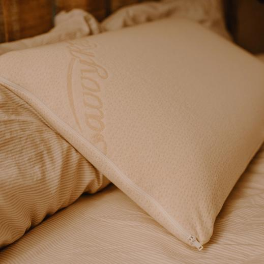 The Natural Talalay Pillow comes with a plush knit organic cotton cover.