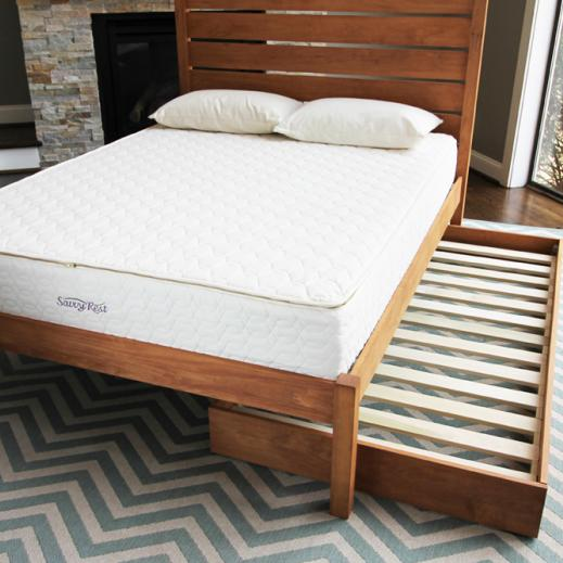 naturally-finished trundle bed