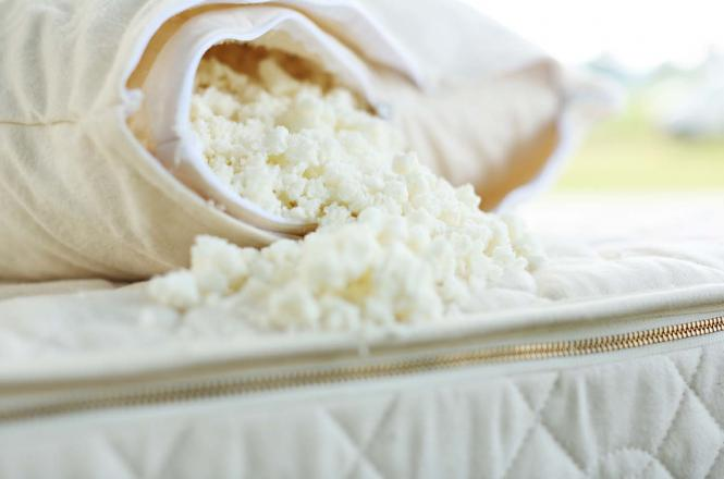 Savvy Rest's shredded latex pillow can be customized by removing the fill
