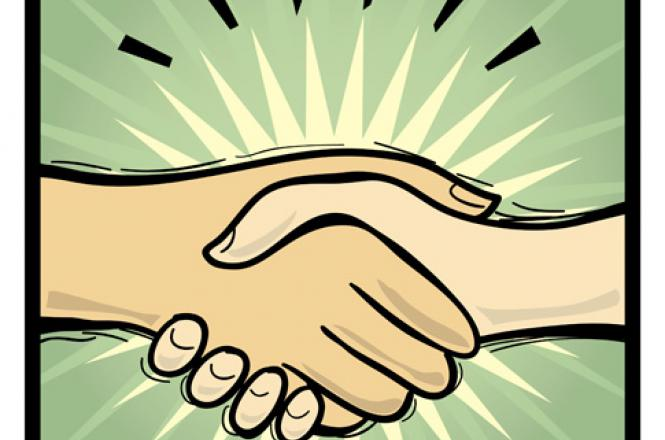 Shaking hands after a done deal