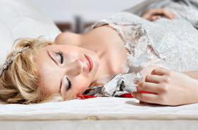 Bride sleeping on a mattress