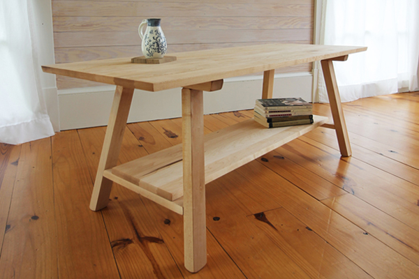 Maple bench with shelf.